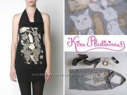 Платье или туника KIRA PLASTININA с принтом котика и зайчика серое золото