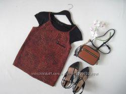 Блуза ZARA впереди плотный шифон в леопардовый принт спина черная