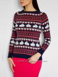 Теплый свитер в зайчики и сердечки кролики