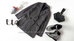 Серый пиджак oversize двубортный жакет бойфренд оверсайз