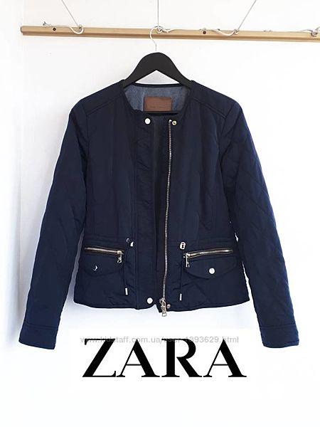 Стеганая куртка ZARA талия затягивается утепленная куртка Зара на синтепоне