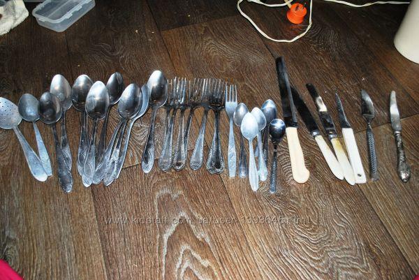 Столовые приборы ложки вилки ножи нержавейка алюминий 32 прибора