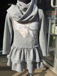 Комплект детский теплый платье и хомут Сердце рюша 116, 122, 128см.