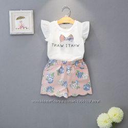 Комплект летний для девочки шорты и футболка Лаванда на 120, 130см.