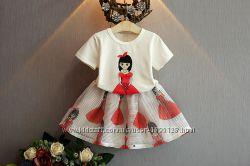 Комплект летний для девочки футболка и юбка Девочка на 110см.
