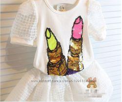 Комплект летний для девочки футболка и юбка Помада на 110см.