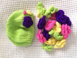 Комплект демисезонный берет 5-6 лет и новый шарф ручная работа