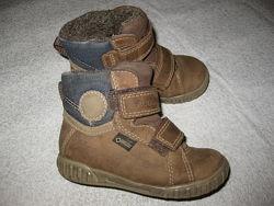 15, 5 см стелька, кожаные зимние термо ботиночки Ecco с мембраной