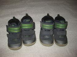 13 и 14 см стелька, кожаные деми ботиночки Ecco, с мембраной гортекса