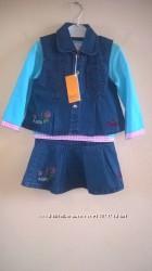 Комплект джинсовый жилетка и юбка Новые 3-5 лет