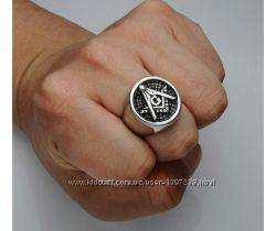 Перстень-печатка для мужчин, масонский знак