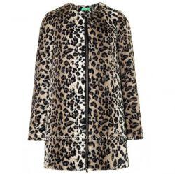 Модная и стильная искусственная шуба на молнии леопардовый принт Benetton