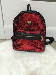 Рюкзак с пайетками двусторонними средний размер сумка для девочки