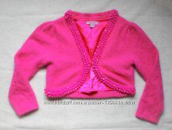 Нарядное теплое розовое болеро для девочки из ангоры