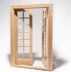 Дверь двустворчатая межкомнатная застекленная для домика в миниатюре