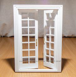 Дверь двустворчатая межкомнатная застекленная, белая для домика в миниатюре