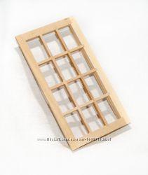 Окно 12-секций, застекленное для домика в миниатюре