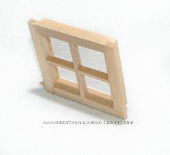 Окно квадратное, застекленное для домика в миниатюре