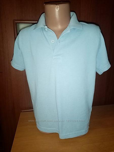 Футболка-поло голубая с коротким рукавом на 5-6 лет, рост 110 см