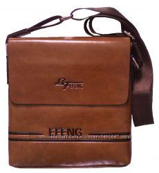 Сумка планшет мужская через плечо коричневая 25х23х5 см
