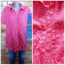 Sixth Sense . 100 лен . блузка рубашка сорочка короткий рукав .