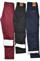 Теплые брюки на мальчика на травке 3 цвета