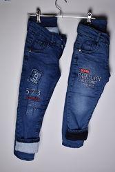 Теплые джинсы на мальчика на травке 2 модели