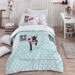 Комплект постельного белья Подростковый серый, розовый, ментол