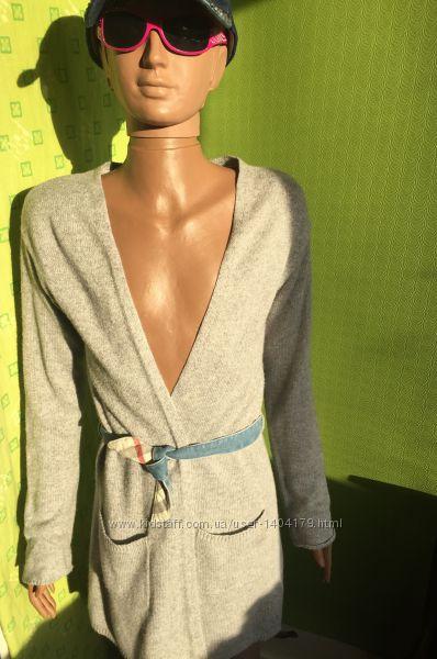 Теплый вязанный халат на запах H&M LOGG с альпакой рост 152 см