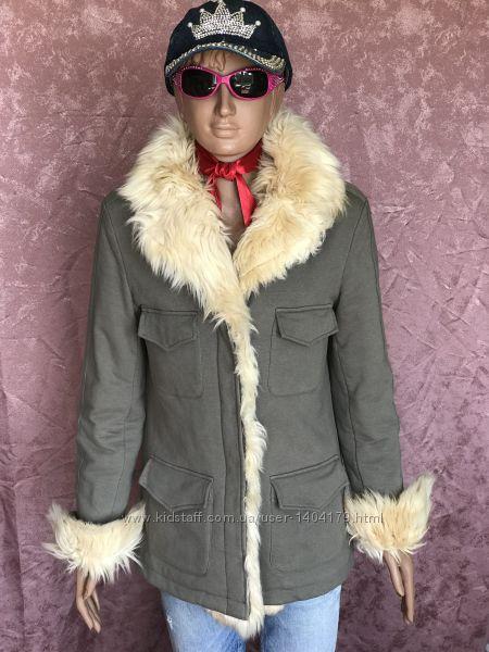 Grey khaki теплая куртка пальто DOUDOU Италия оригинал 12 размер