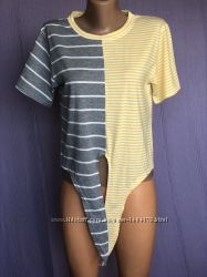 New серо-желтая футболка в полоску на завязках спереди