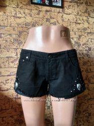 джинсовые шорты с черепами - Queen of Darkness - размер M - наш 44р.