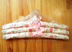 Вешалки-плечики мягкие 3 шт. тремпеля, однотонные, принт цветы