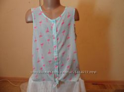 Стильна блузочка з фламінго в ідеалі на 134-140см від F&f
