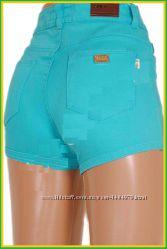 Шорты ZARA завышенная талия с качественной плотной ткани типа джинс