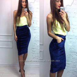 Синяя бархатная юбка карандаш Англия