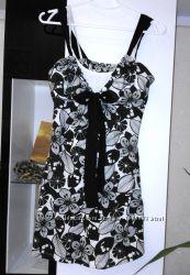 Фирменный черно белый сарафан 100  хлопок