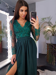 Элегантное платье в пол с атласной юбкой и кружевом. Разные цвета