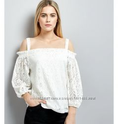 New Look белая блузка 44 размер топ 44 р с кружевом