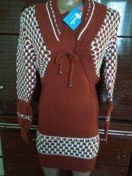 Комплект двойка платье- туника балеро - вязанный трикотаж, размер 44.