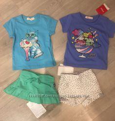 Пакет фирменных вещей юбка шорты футболки 0-6 месяцев