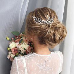 Комплект украшений для невесты - шпильки для волос и серьги