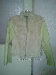 Куртка кожаная с мехом кролика, шубка р. 44