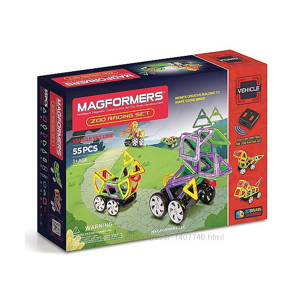 Магнитный конструктор Magformers Zoo Racing Set животные 55 707008
