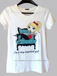 Белая хлопковая футболка Тсм Tchibo р. 158-164