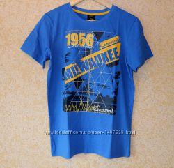 Синяя хлопковая футболка Тсм Tchibo р. 158-164