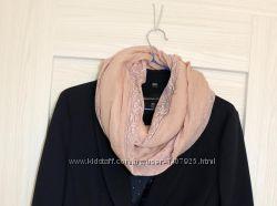 Тонкий шарф-шаль с кружевом от h&m пыльная роза