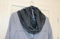 Тонкий шарф-шаль с кружевом от h&m серый