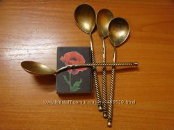 Четыре серебряные чайные ложки. 875 проба. СССР