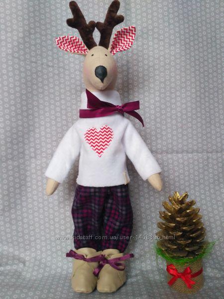 Олень Тильда Новый год подарок игрушка